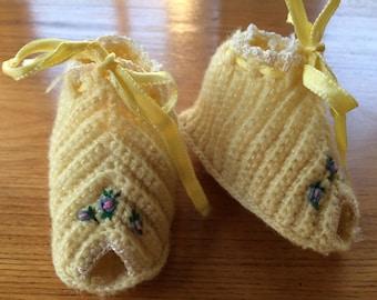 Vintage Crocheted Baby Booties