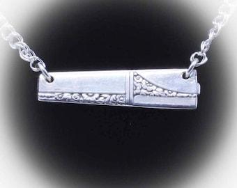Silver Spoon Bar Pendant CAPRICE Jewelry Necklace Vintage, Silverware, Gift, Anniversary, Wedding, Birthday