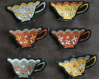 Steampunk Small Teacup Embroidered Patches