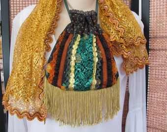 HALLOWEEN FRINGED POUCH, Pouch, Pumpkin Orange Lacy Lame Gypsy Belly Dance Dance Scarf,  Metallic Scarf, Bohemian Purse, Moon and Star Pouch