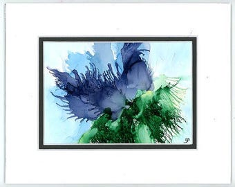 Flower Painting, Watercolor And Inks, Mixed Media Art, Contemporary Art, Alcohol Ink Art, Stylized  Flower, Modern Art, Blue Floral