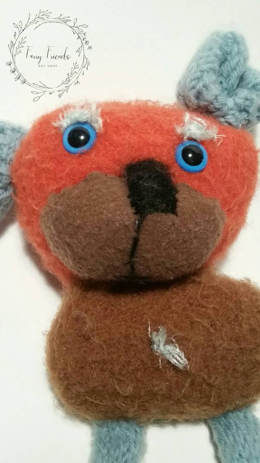 Squiggly The Long Legged Felted Orange and Blue Teddy Bear