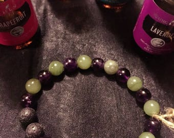 Jade and Amathyst Essential oil diffuser bracelet