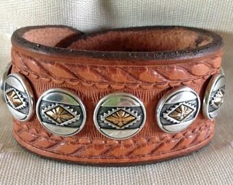 Southwestern Rope-Edge Concho Cuff Bracelet