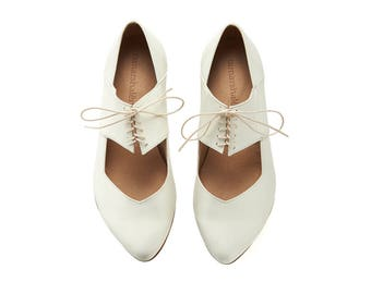 White ballerina shoes, Vicky, white leather shoes, Brides shoes