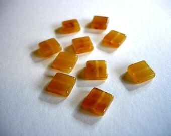 10 flat square orange resin beads