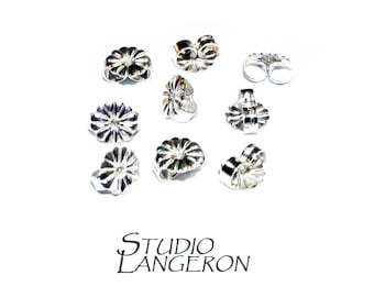 10 pcs (5 pair) 925 Sterling silver Friction Ear Nuts, Butterfly Earring Backs, Earring components, Earring Findings, Sterling silver backs