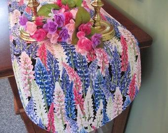 "36"" Spring Table Runner Reversible Table Runner Pink and Purple Lupine Table Runner Easter Table Runner Purple Pink and Blue Table Decor"