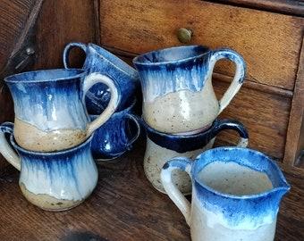 Set of 6 earthenware hand craft Mugs