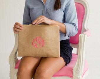 Burlap Zip Pouch, Personalized Burlap Cosmetic Bag, Bridesmaids Gift
