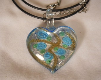 Heart Glass Necklace Murano Lampwork