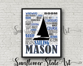 Personalized Sailing Poster, Gift for Sailors, Sailing Gift Ideas, Typography, Nautical Gift, Sailing Team Gift, Sailing Art, Sailor Print
