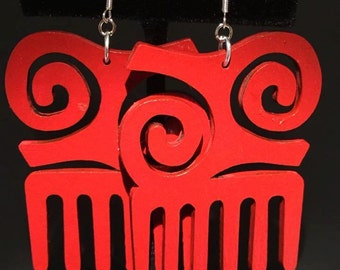 Red Kwatakye Atiko Comb Earrings