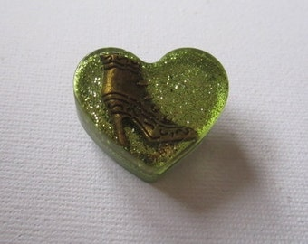 Victorian Boot Heart-Shaped Brooch