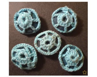 Crocheted blue, flat wooden round beads