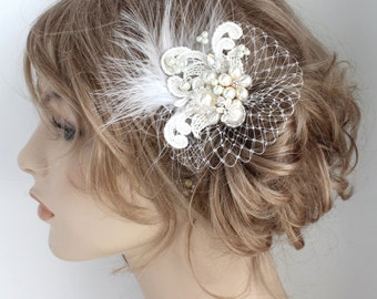 Bridal Hair Accessory- Feather Bridal Comb- Pearl Bridal Comb- Wedding Hair Comb- Ivory Hair Accessory- Wedding Hairpiece- Lace Hair Comb
