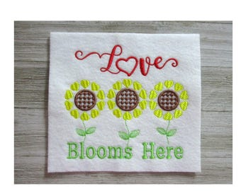 Love Blooms Here Embroidery Design, Machine Embroidery, Sunflowers, Summer, 3 Sizes