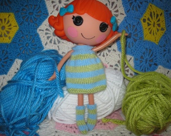Knitting Pattern for Lalaloopsy Doll Clothes Striped Dress & Socks PDF Instant Download