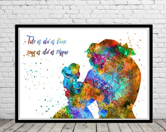 Beauty and the Beast inspired, Beauty and the Beast quote, Watercolor Art,Kids Room Decor, from European fairy tales(979b)