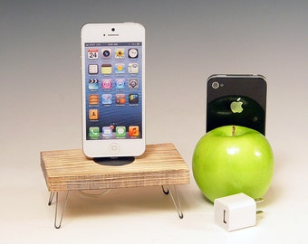 Unique Docking station with charger for any iPhone. Retro Rustic. Hairpin legs. Recycled wood. 484. FAST SHIPPING