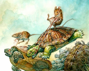 Tortue de Race (impression) - souris rider, steeple, équitation, sports, art fantastique, conte de fée, illustration, illustration