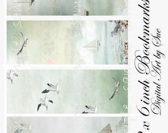 2 x 6 Tranquil Sea Bookmarks -  Digital Download - Printable  Digital Collage Sheet - Instant Download
