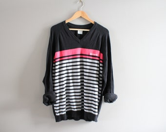 Adidas pull rayures noires coton pull Adidas pull ample pull col en v tricot Oversize Vintage 90 s Taille L - Xl