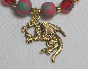 Red Dragon Polymer Clay Beaded Bracelet