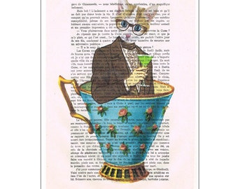 Cat Print Illustration Drawing, Digital Painting, wedding gift, Alice in Wonderland, gift for friend,by Coco de Paris: Cat in a cup