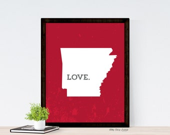 Arkansas State Map Art Print - Home State Love Poster - Home Decor - Housewarming Moving Gift - Grunge Old World Look