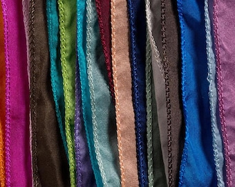 Hand Dyed Silk Ribbons - Flat Ribbon Style - Choose Your Colors