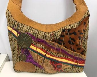 Vintage CARLOS FALCHI Jumbo Hobo Bag Woven Raffia Python Snakeskin