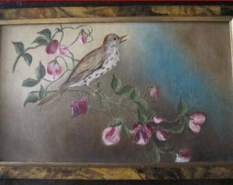 Antique Bird Painting Oil Folk Art