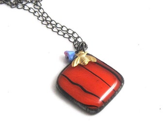 Bumble Bee   Fused Glass   Pendant   Chain   Gift Under 50   Eclectic Jewelry   Orange   Bohemian   OOAK   Eccentric   Gift for Women