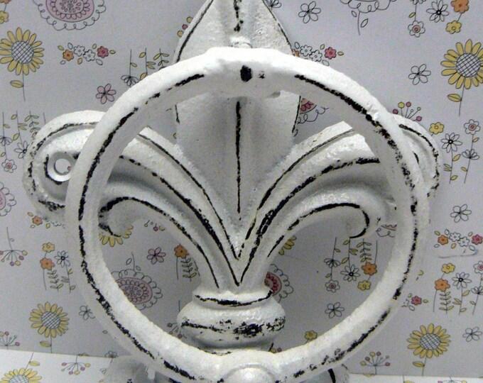 Fleur de lis Cast Iron Shabby Chic White FDL Welcome Door Knocker Home Decor