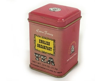 Vintage Wagner & Sons - Tiny Tea Tin - English Breakfast Tea -  Tomato Red Colored Tin