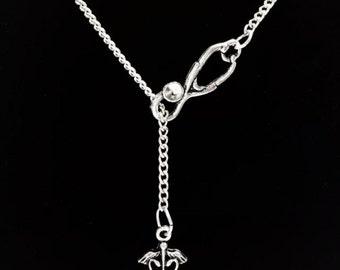 Nurse Gift, Stethoscope Nurse Necklace, RN Necklace, Registered Nurse Gift Y Lariat Necklace