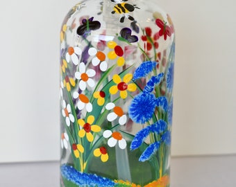Hand Painted Glass Liquid Soap Lotion Dispenser Bottle  with Hand Pump Wild Flowers Bumblebees Butterflies Pink Yellow White Purple Blue Red