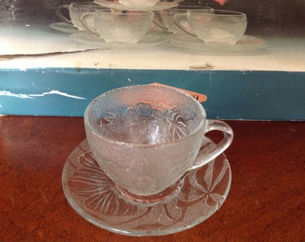 Clear Glass Cups and Saucers, Set of 6, Carnation Cups and Saucers Set
