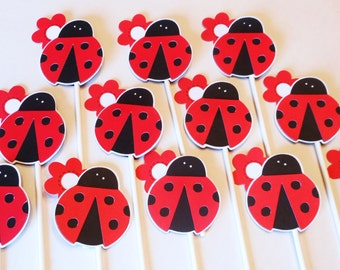 Ladybug Cupcake Toppers 1st Birthday Baby Shower Garden Party Lady Bug Flower Red or Hot Pink Color Option