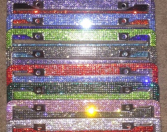 Crystal Bling Rhinestone License plate frame holder, Girl Car Accessory,  13 color choices, without Bow, Matching Cap covers included