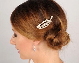Rhinestone Leaf Hair Comb Small Bridal Headpiece Silver Hair Piece Art Deco Headpiece Special Occasion Fern Clip Crystal Head Piece Prom