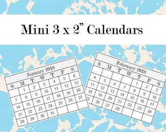 "2018 Micro Mini Calendars (2x3"") • Editable Printable Template • PDF + Word"