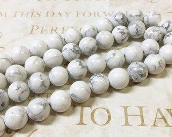 AA quality, Magnesite Beads, Round, 10mm, Full strand