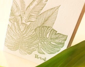 Thank you card, tropical leaves, mothers day thank you card, bird of paradise, monstera leaf, tropical foliage, paradise, jungle green