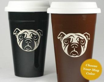 Pug Dog Travel Mug - ceramic lidded coffee cup