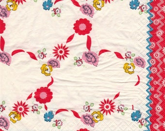 STYLIZED flowers pattern 4 X 1 paper lunch size napkin 194