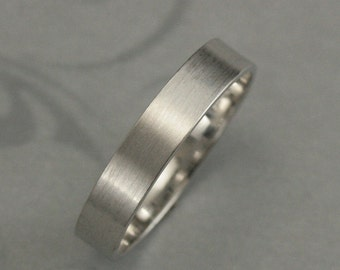 Solid 14K White Gold Flat Wedding Band--5mm Straight and Narrow Men's Wedding Band-Wide Gold Ring-Modern Wedding Band--Your Choice of Finish