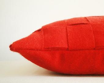 Red Felt Cushion Cover , Red Felt Pillow , Decorative Pillow, Accent Throw Pillow