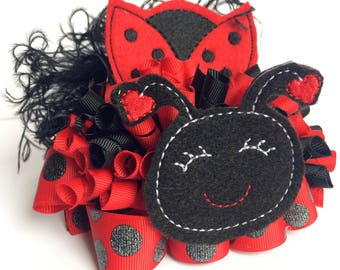 Ladybug hair bow - 1st birthday bow - Lady Bug - girls ladybug birthday - ott bows - girls birthday gift - hair bow for girls - Red bows